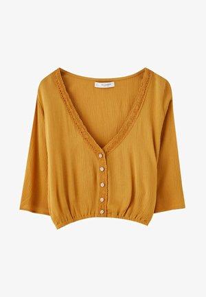 MIT SPITZE - Bluse - mustard yellow