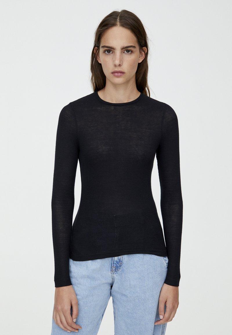 PULL&BEAR - LONGSLEEVE - Bluzka z długim rękawem - black