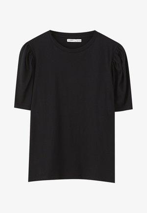 MIT PUFFÄRMELN  - Basic T-shirt - black