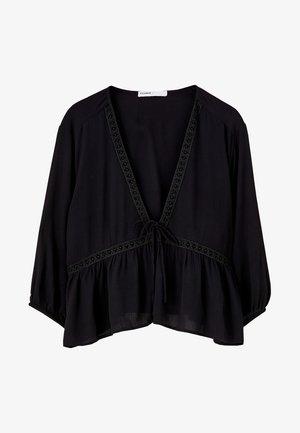 MIT SPITZE  - Bluse - black