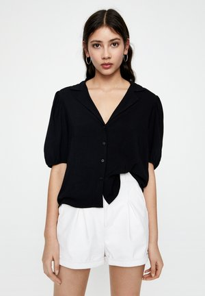 MIT PUFFÄRMELN - Button-down blouse - black