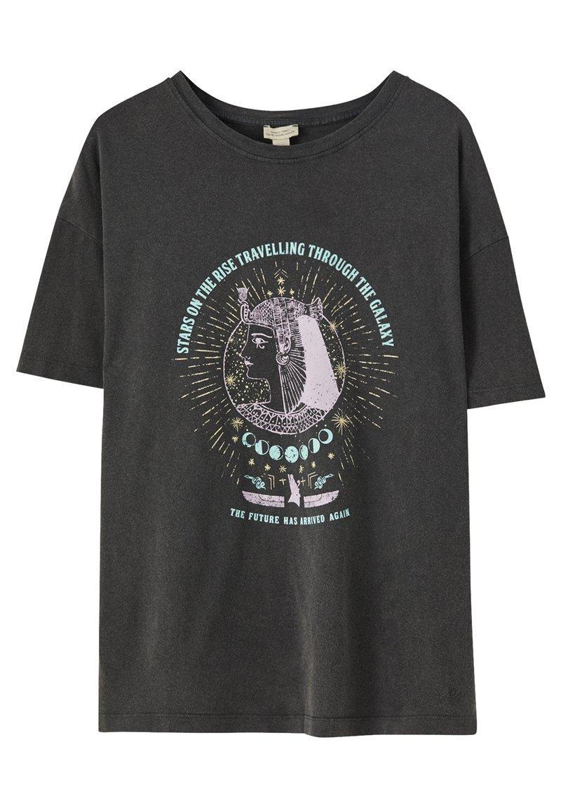 PULL&BEAR - MIT MOTIV - Print T-shirt - dark grey