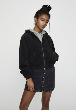 WORKER - Mikina na zip - mottled black