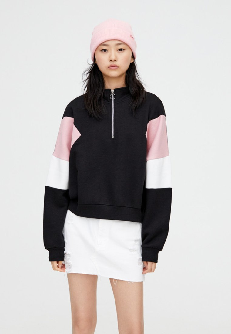 PULL&BEAR - MIT REISSVERSCHLUSS - Sweatshirt - black
