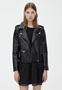 PULL&BEAR - BIKER - Veste en cuir - black - 0