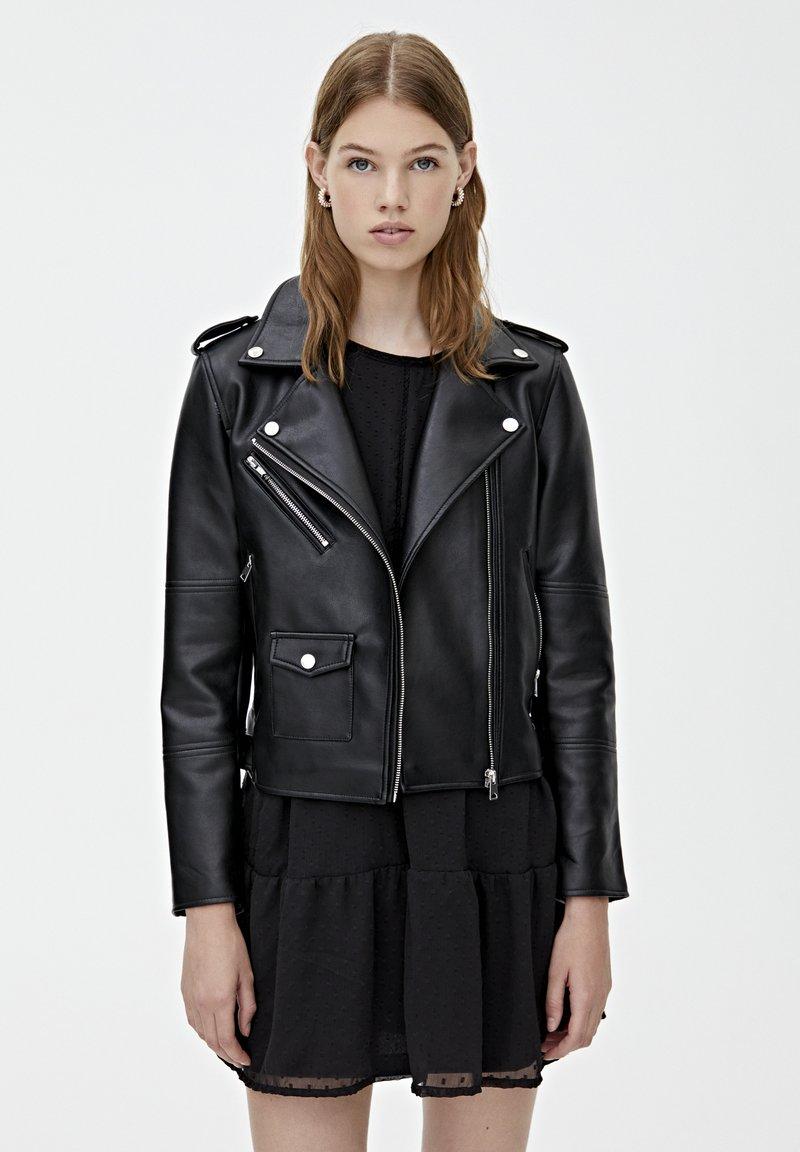 PULL&BEAR - BIKER - Veste en cuir - black