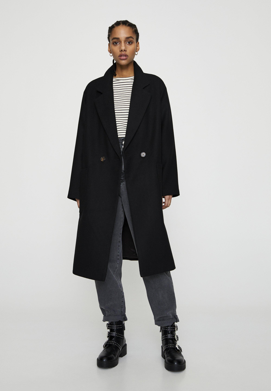 Pull&bear Classic Coat - Mottled Black
