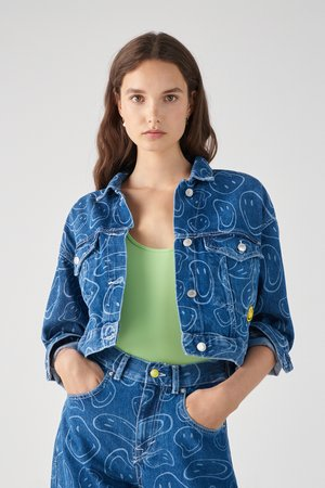 SMILEY - Denim jacket - blue