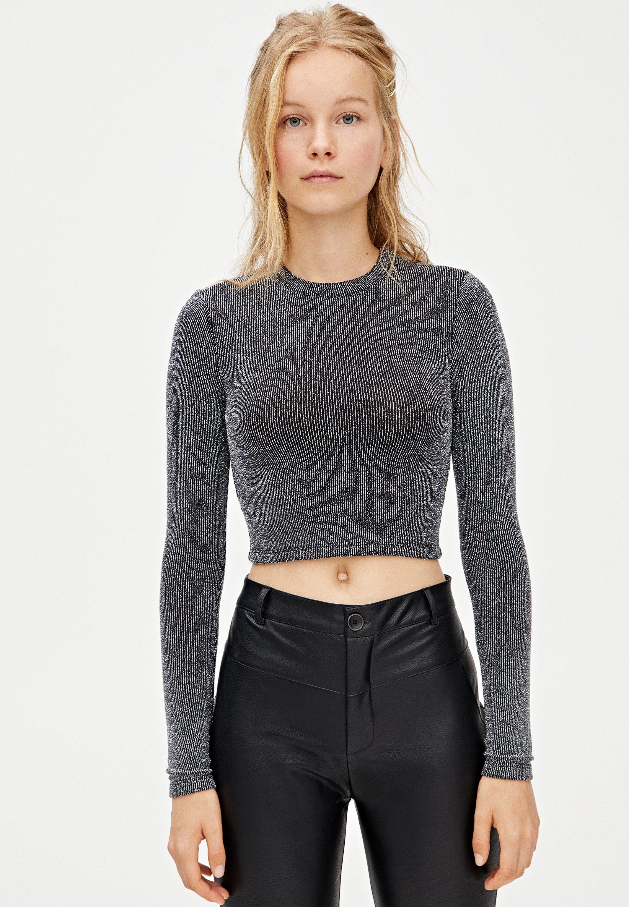 PULL&BEAR MIT GLITZER - Sweter - silver