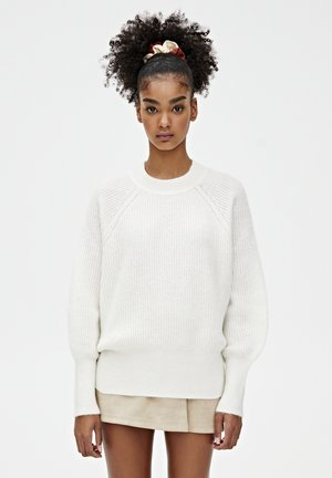 MIT VOLLPATENTMUSTER  - Strickpullover - beige