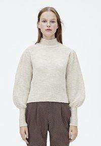 PULL&BEAR - MIT BALLONÄRMELN  - Pullover - mottled beige - 0