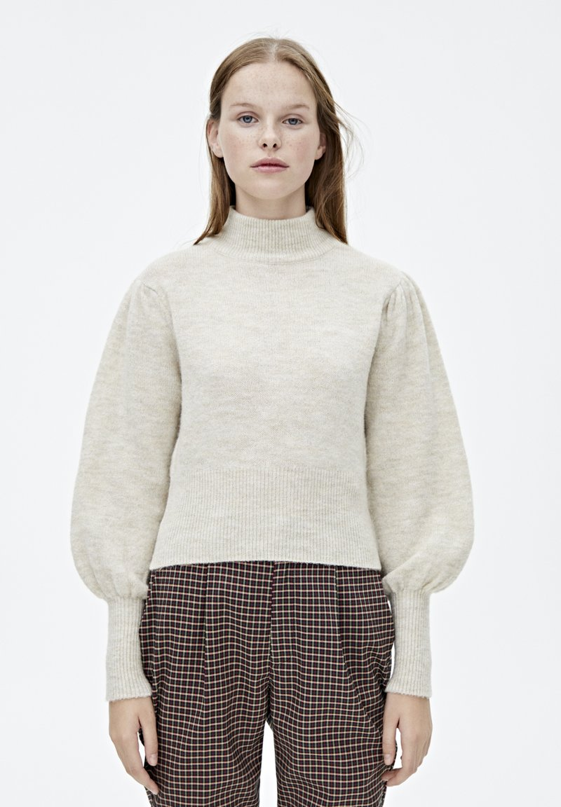 PULL&BEAR - MIT BALLONÄRMELN  - Pullover - mottled beige