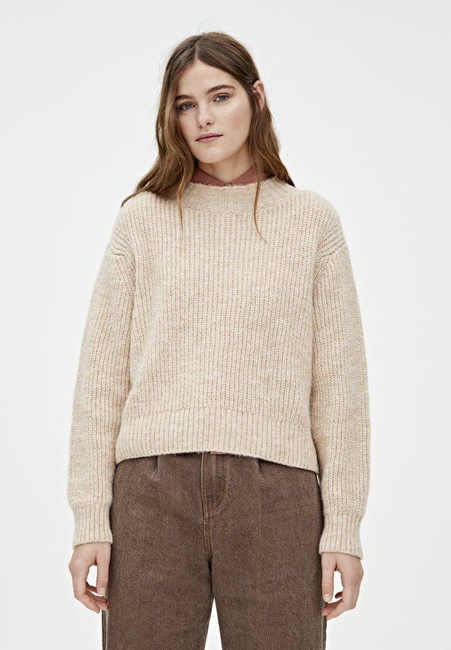 MIT VOLLPATENTMUSTER - Stickad tröja - mottled beige