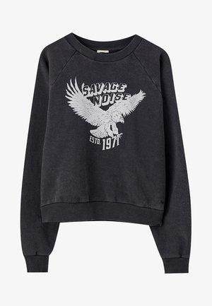 SCHWARZES SWEATSHIRT MIT ADLERMOTIV 05596322 - Sweater - mottled black