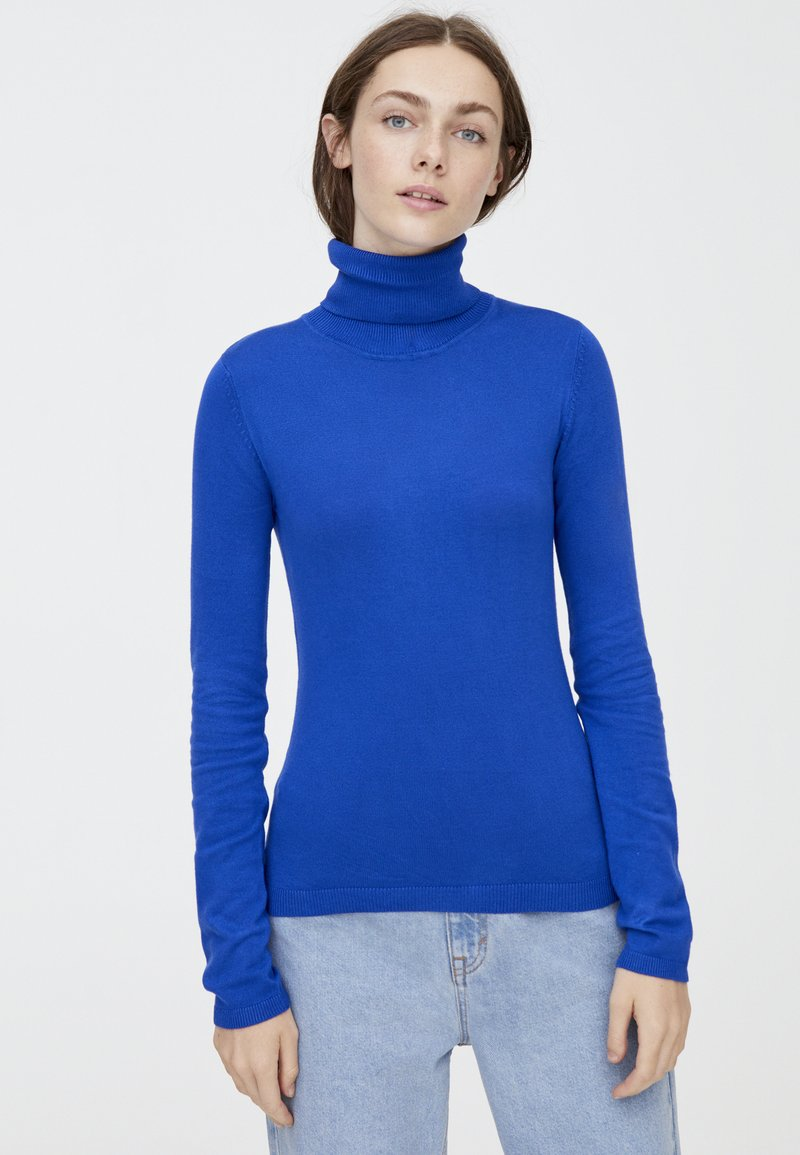 PULL&BEAR - MIT ROLLKRAGEN  - Strickpullover - blue