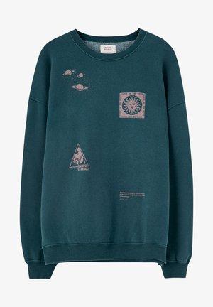 MIT PRINT IN KONTRASTFARBE - Sweatshirt - blue