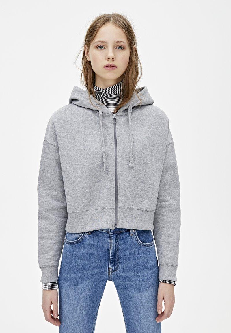 PULL&BEAR - MIT KAPUZE UND REISSVERSCHLUSS - veste en sweat zippée - dark grey