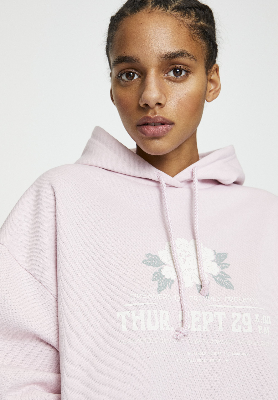 PULL&BEAR MIT BLUMENMOTIV - Bluza z kapturem - rose