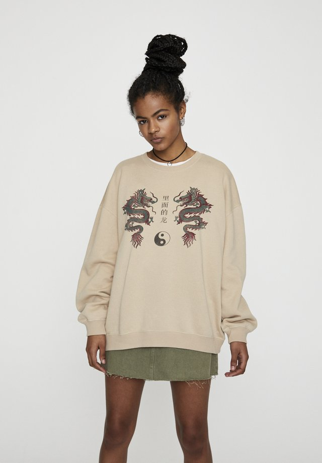 MIT DRACHENMOTIV  - Sweater - beige