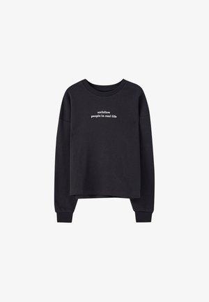 MIT LANGEN ÄRMELN UND SLOGAN  - Sweatshirt - mottled dark grey