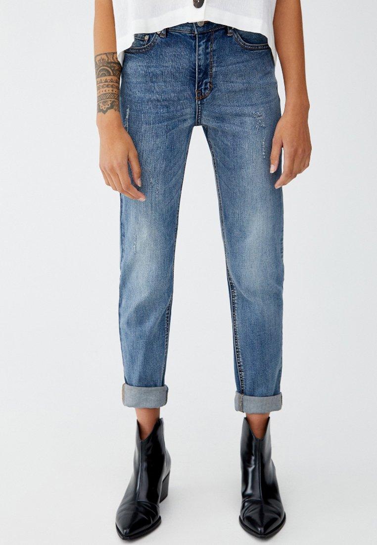 PULL&BEAR - MIT HOHEM BUND - Jeans slim fit - blue