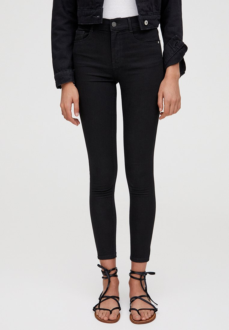 PULL&BEAR - MIT HALBHOHEM BUND - Jeans Skinny Fit - black