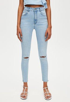 MOM MIT HOHEM BUND - Skinny džíny - light blue