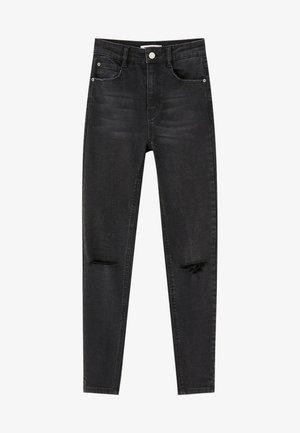 MOM MIT HOHEM BUND - Skinny džíny - black