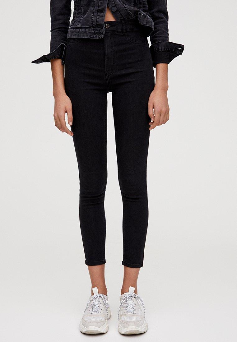 PULL&BEAR - MIT HOHEM BUND - Jeans Skinny Fit - black