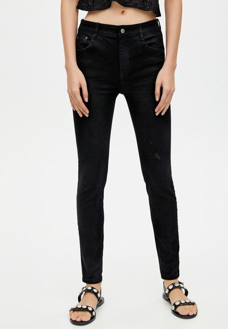 PULL&BEAR - MIT PUSH UPS  - Jeans Skinny Fit - black