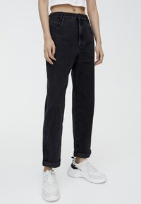 PULL&BEAR - MOM - Jean droit - black - 0