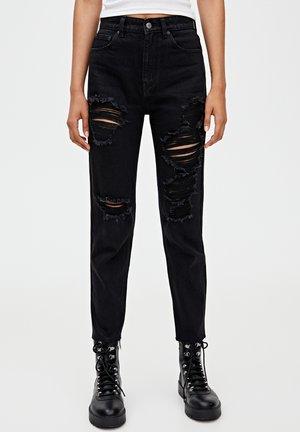 MOM MIT HOHEM BUND - Jeans slim fit - black