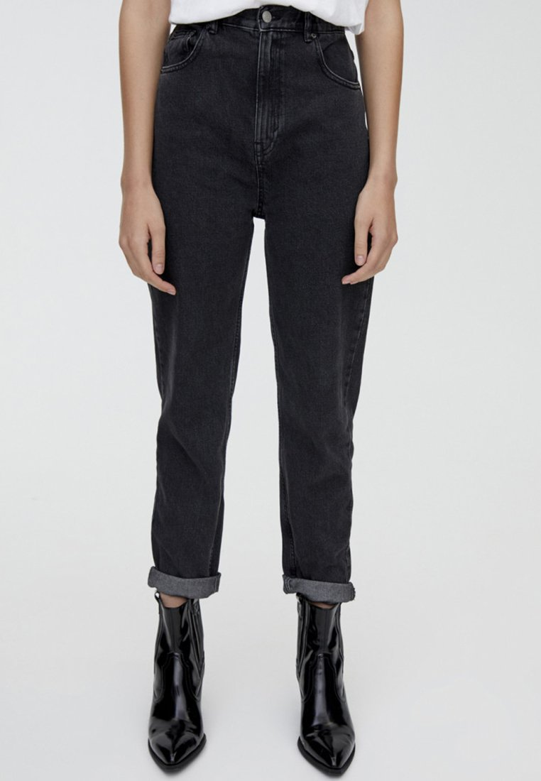 PULL&BEAR - MIT UMGESCHLAGENEM SAUM  - Jeans Straight Leg - black