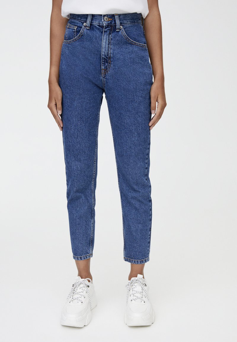 PULL&BEAR - MOM FIT - Jeansy Slim Fit - dark blue