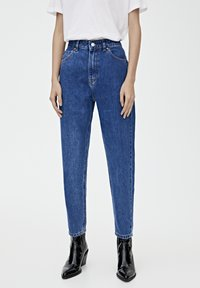 PULL&BEAR - BASIC-MOM - Jeansy Slim Fit - mottled blue - 0