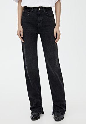 MIT HOHEM BUND - Straight leg jeans - black