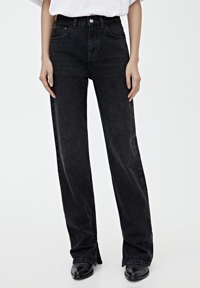 MIT HOHEM BUND - Jeans Straight Leg - black