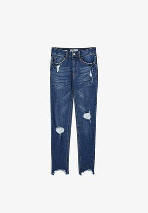 MIT HALBHOHEM BUND UND RISSEN  - Skinny džíny - dark blue