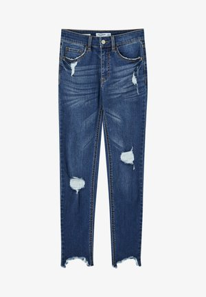 MIT HALBHOHEM BUND UND RISSEN  - Jeans Skinny Fit - dark blue