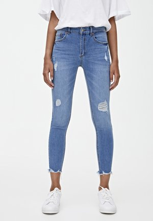 MIT HALBHOHEM BUND UND RISSEN  - Jeansy Skinny Fit - blue