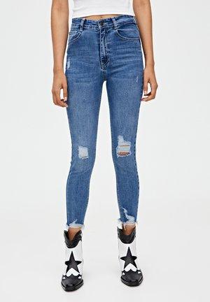 MIT HOHEM BUND - Jeansy Skinny Fit - blue