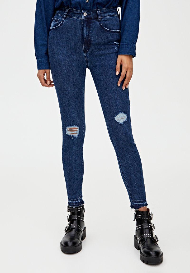 PULL&BEAR - MIT HOHEM BUND - Skinny džíny - dark blue