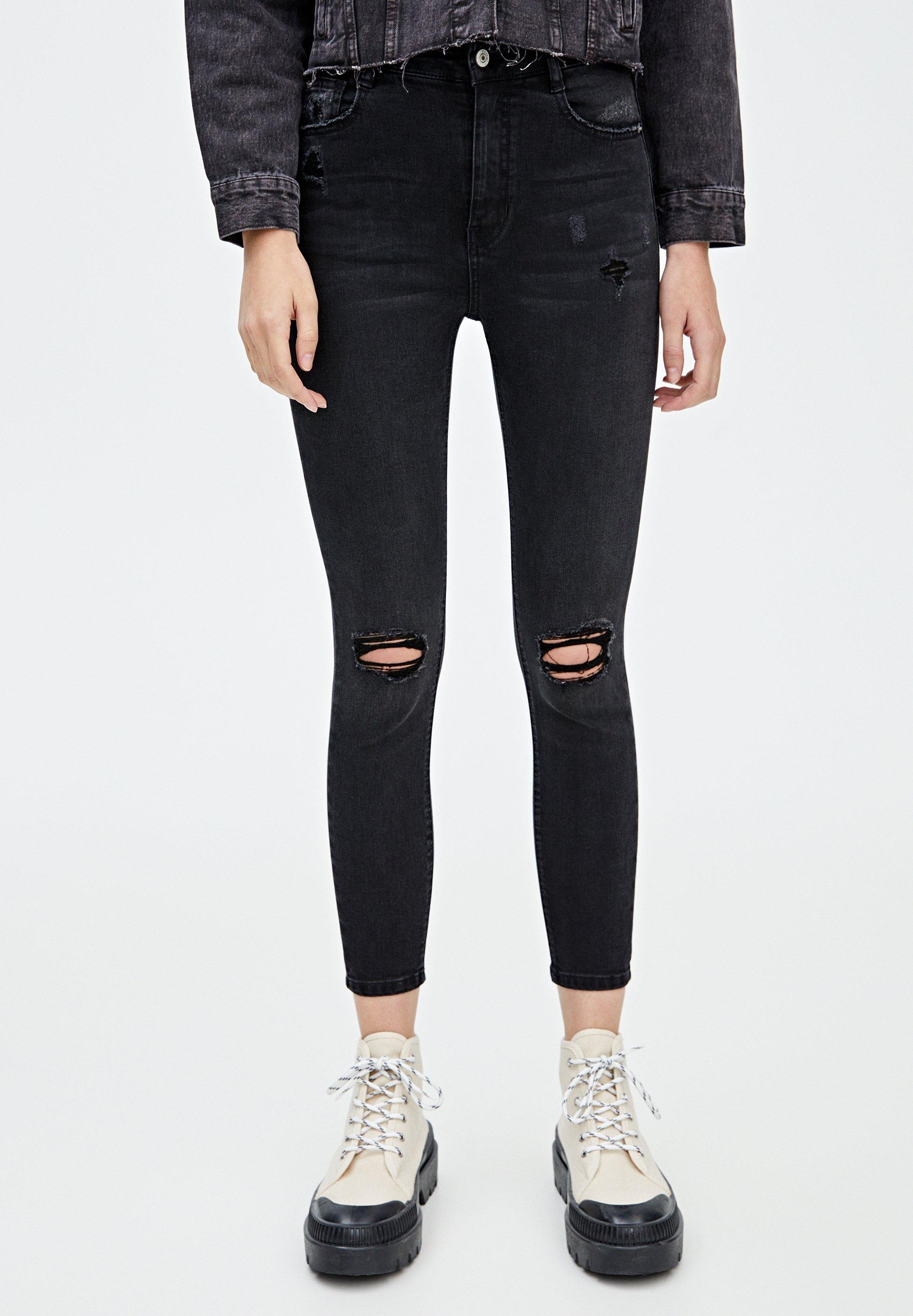 PULL&BEAR MIT HOHEM BUND - Jeans Skinny Fit black