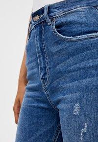 PULL&BEAR - MIT HOHEM BUND - Jeans Skinny Fit - dark blue - 4