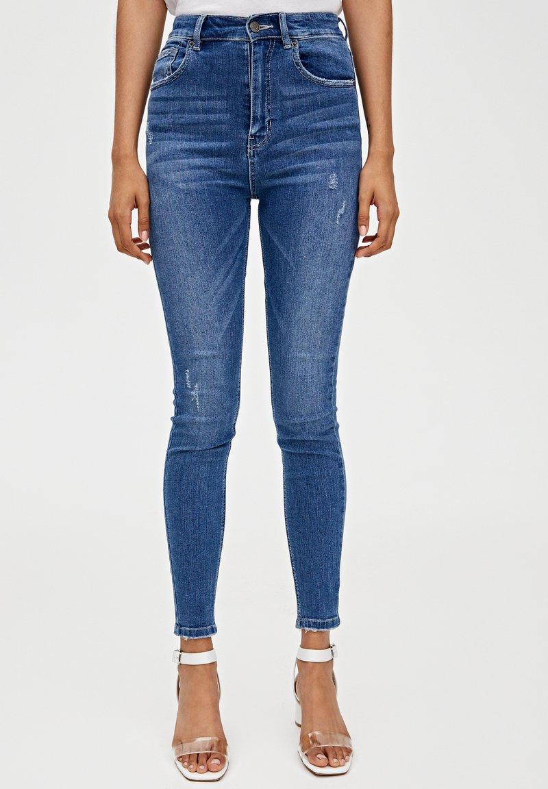 PULL&BEAR - MIT HOHEM BUND - Jeans Skinny Fit - dark blue
