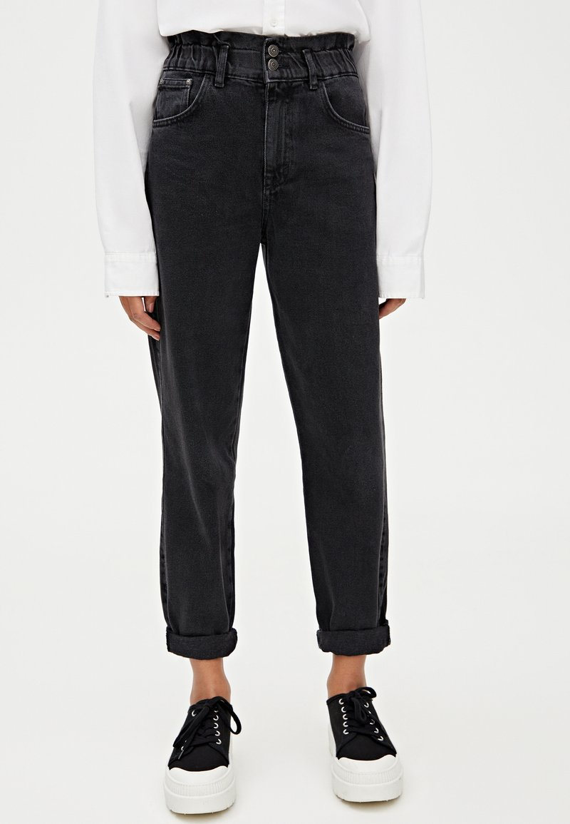 PULL&BEAR - MIT STRETCHBUND - Straight leg jeans - black