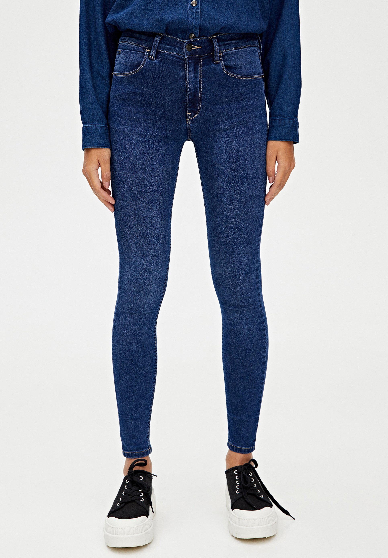 PULL&BEAR MIT HALBHOHEM BUND - Jeansy Skinny Fit - blue