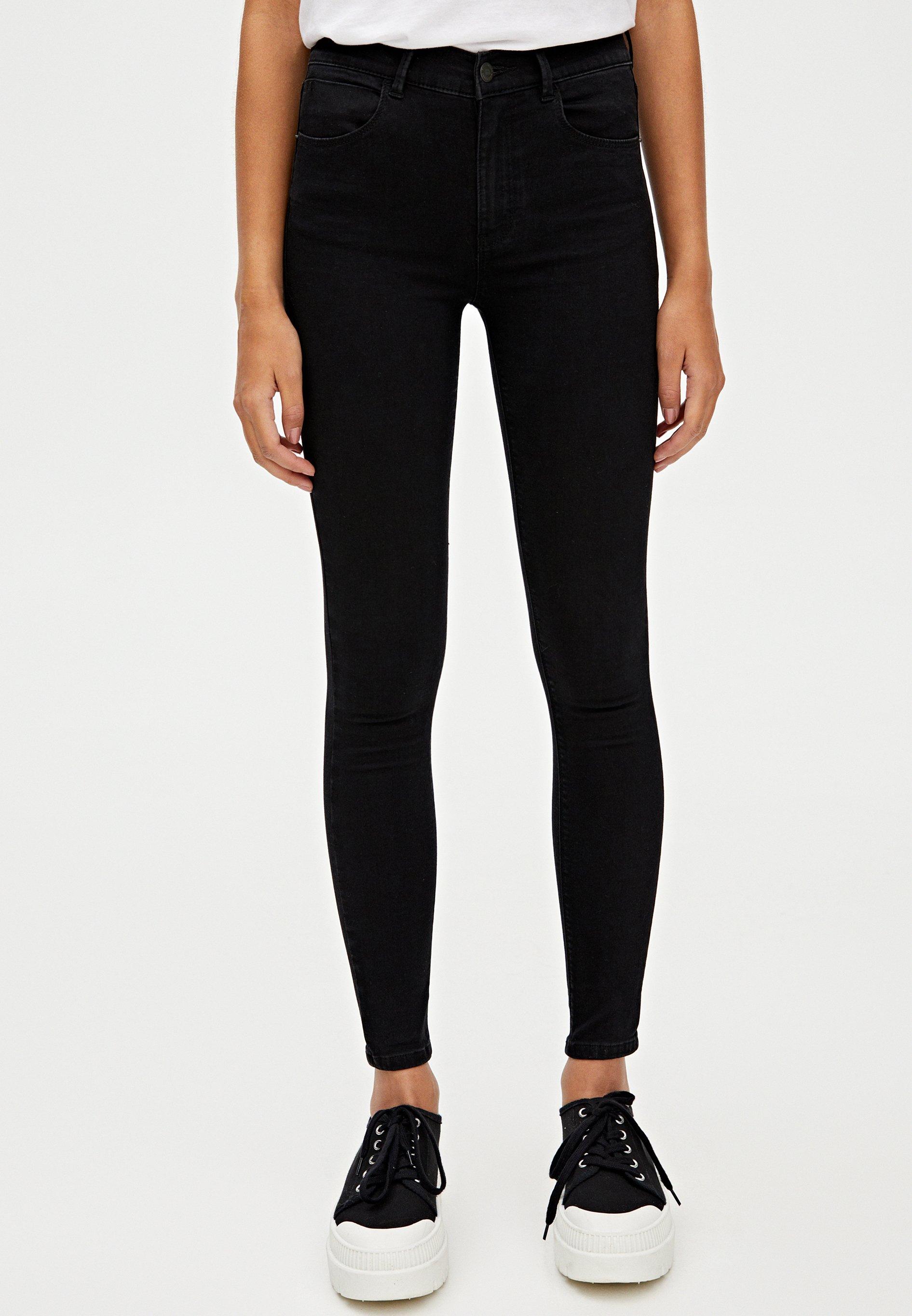PULL&BEAR MIT HALBHOHEM BUND - Jeansy Skinny Fit - black