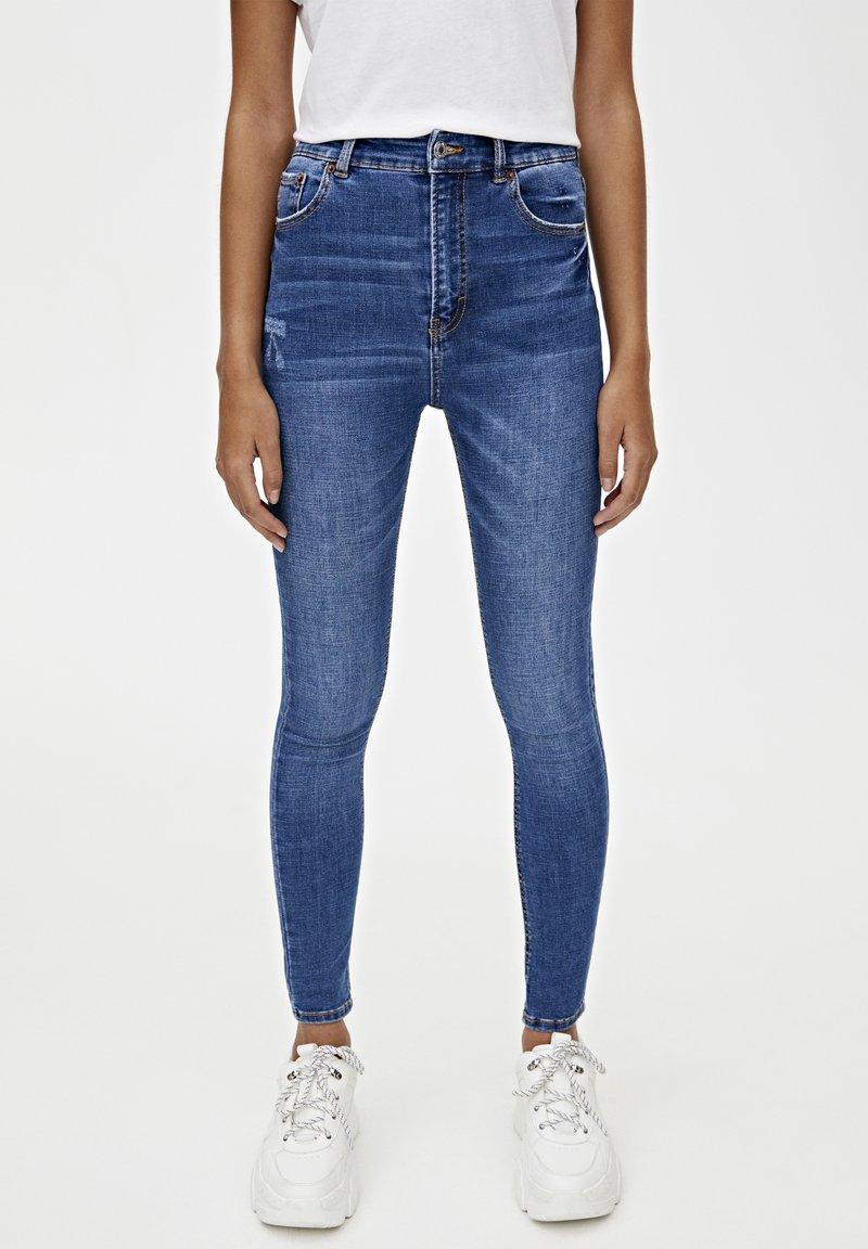 PULL&BEAR - BASIC-JEANS IM SKINNY-FIT MIT HOHEM BUND 09684315 - Jeans Skinny Fit - dark blue