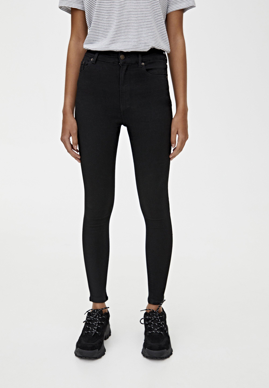 PULL&BEAR BASIC-JEANS IM SKINNY-FIT MIT HOHEM BUND 09684315 - Jeansy Skinny Fit - black